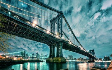 clouds, lights, water, bridge, skyscrapers, usa, new york, manhattan, brooklyn bridge