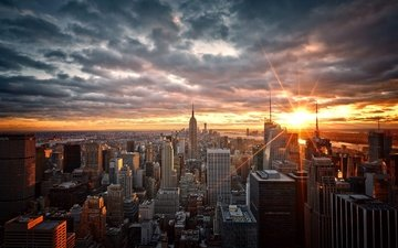 the sky, clouds, the evening, the sun, sunset, the city, skyscrapers, megapolis, home, new york