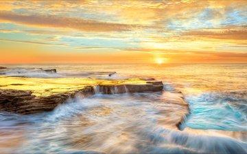 the sky, clouds, the sun, sunset, sea, horizon, coast, australia, new south wales, maroubra