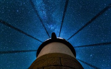 night, stars, lighthouse, usa, the milky way, clyde, state of maine