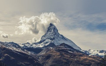 the sky, clouds, mountains, snow, nature, landscape, fog, alps, top, mountain range, matterhorn