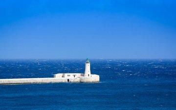 the sky, sea, lighthouse, horizon