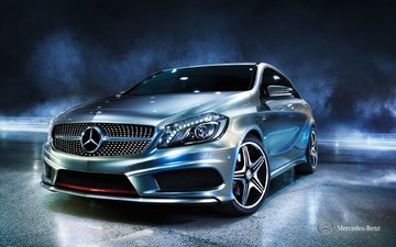 the dark background, mercedes, mercedes benz, . supercar