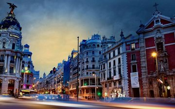 lights, the city, building, spain, madrid
