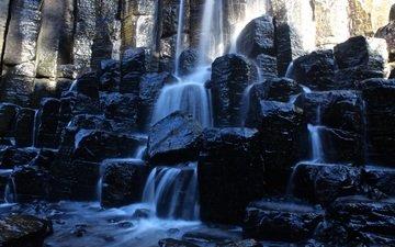 скалы, природа, водопад, мексика