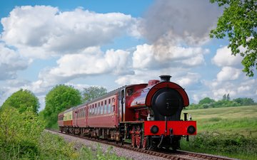 railroad, nature, england, train, mid-norfolk railway