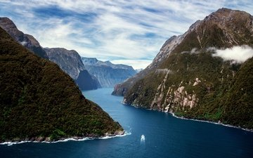 mountains, nature, boat, new zealand, the fjord, milford sound, south island