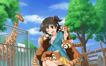 eyes, the sky, clouds, trees, girl, animals, hair, zoo, akagi miria