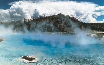 clouds, water, mountains, nature, landscape, sea, fog, yellowstone national park