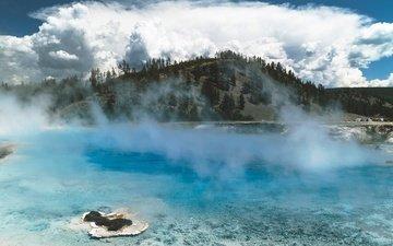 облака, вода, горы, природа, пейзаж, море, туман, йеллоустонский национальный парк, национальный парк йеллоустоун