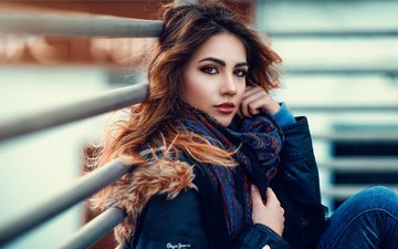 девушка, взгляд, макияж, куртка, шатенка, алессандро ди чикко, ary