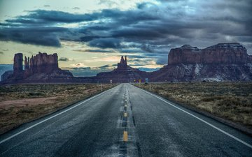 the sky, clouds, az, utah, road, twilight, signs, united states, monument valley, scope