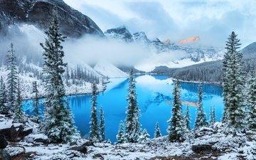 облака, деревья, озеро, горы, снег, зима, туман, гора, alexey suloyev, алексей сулоев