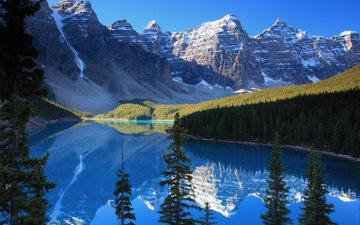 lake, mountains, rocks, forest, reflection