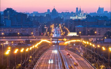 road, lights, the evening, moscow, bridge, home, russia