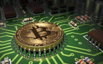 арт, абстракция, плата, деньги, дорожки, микросхема, процессор, боке, монета, транзисторы, биткойн, светодиод, криптовалюта