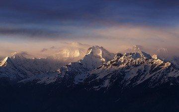 light, mountains, sunrise, nature, landscape, fog, snow peak, the himalayas, nepal