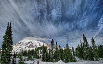 небо, деревья, горы, природа, зима