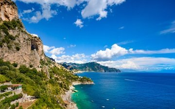 the sky, clouds, mountains, rocks, sea, beach, amalfi