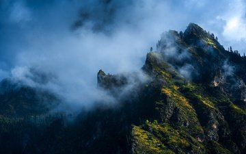 mountains, forest, fog, stone town, deng donglin