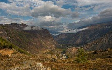 clouds, river, mountains, gorge, dulisminsky canyon, natalya p