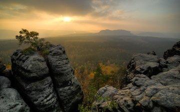 the sky, trees, mountains, stones, sunset, landscape, rock, autumn