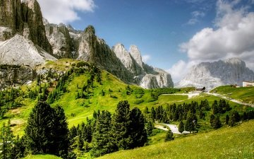 the sky, clouds, trees, mountains, nature, landscape, the dolomites, dolomites, val gardena