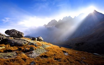 свет, горы, солнце, камни, лучи, осень