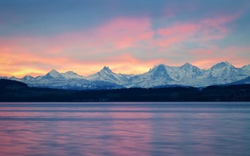clouds, lake, mountains, sunrise, snow, nature, tops