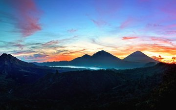 the sky, mountains, nature, landscape, sunset, sunrise, plateau, indonesia, bali, kintamani, mountain relief