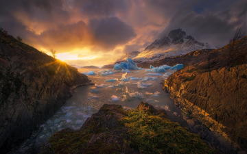 mountains, sunset, ice, chile, patagonia, torres del paine, marc adamus