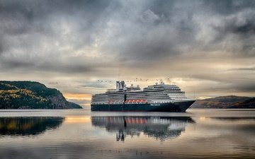 clouds, shore, landscape, sea, horizon, ship, bay, the ocean, liner, cruise liner, the fjord, qc