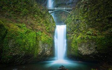 bridge, waterfall, usa, twilight, oregon, the multnomah falls