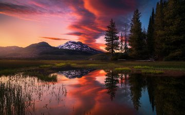 the sky, water, lake, mountains, nature, forest, sunset, reflection, usa