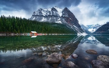 trees, lake, mountains, stones, morning, home, canada