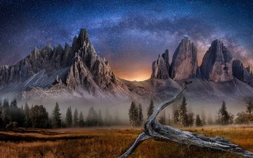 the sky, trees, mountains, stars, fog, field, italy, snag, alps, mountain range, tre cime di lavaredo