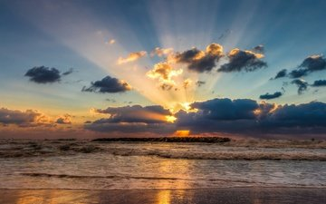 the sky, clouds, sunset, rays, sea, surf, sergio gold