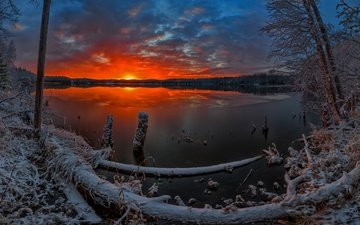 clouds, lake, snow, winter, horizon, dawn, frost, oleg avdeev