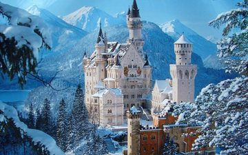 winter, castle, tower, germany, neuschwanstein, bayern