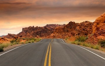 the sky, road, clouds, stones, desert, usa, nevada, highway, national park, valley of fire, valley of fire state park