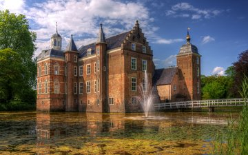 the bridge, park, castle, the city, fountain, wall, pond, netherlands, huize ruurlo