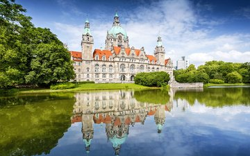 the sky, clouds, trees, water, lake, reflection, the building, palace, germany, hanover, new town hall
