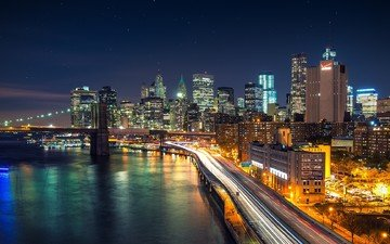 night, bridge, the city, usa, new york, building, manhattan, brooklyn bridge