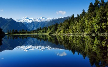 the sky, water, lake, forest, reflection, mountain, new zealand