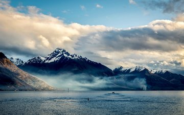 the sky, clouds, mountains, sea, new zealand