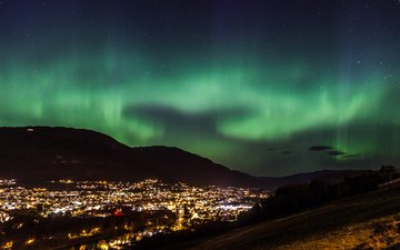 night, lights, nature, stars, the city, northern lights