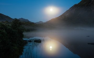 water, lake, mountains, sunrise, nature, norway, the full moon, the lofoten islands, lofoten, gennady shatov they