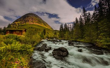 the sky, clouds, trees, river, nature, forest, hill, norway, hut