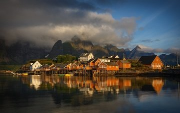 the sky, clouds, reflection, norway, the lofoten islands, yuriy shevchenko. norwegian, yuriy shevchenko, lofoten