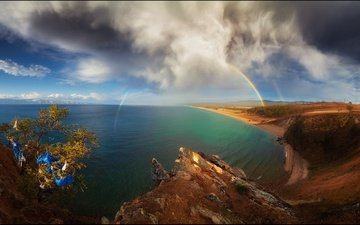 the sky, clouds, lake, nature, rainbow, island, baikal, olkhon, pavel minaev